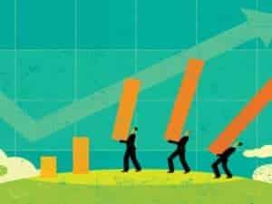 Geschäftsmann kann Billanzierung nicht mehr standhalten. Degrowth und Postwachstum stellen eine Alternative zum Wirtschaftswachstum dar.